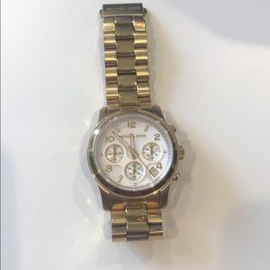 Michael Kors Gold Watch, White Oyster Back